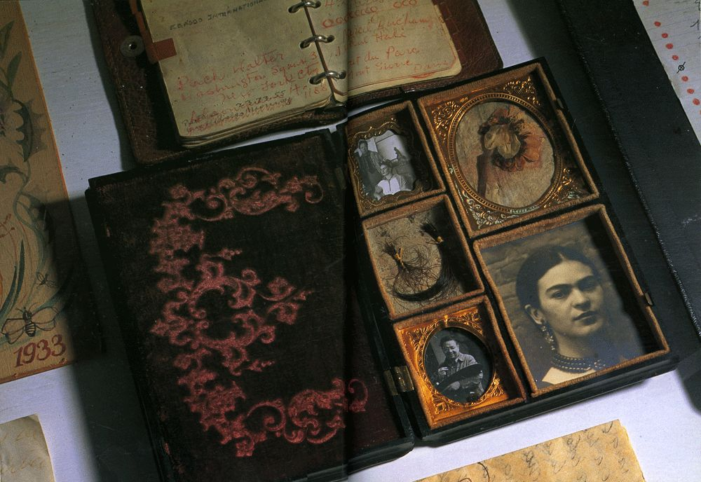 "Frida's photo album, on display in the Frida Kahlo Museum~Image from ""Frida's Fiestas"". http://www.american-buddha.com/frida.fiesta.1.htm"