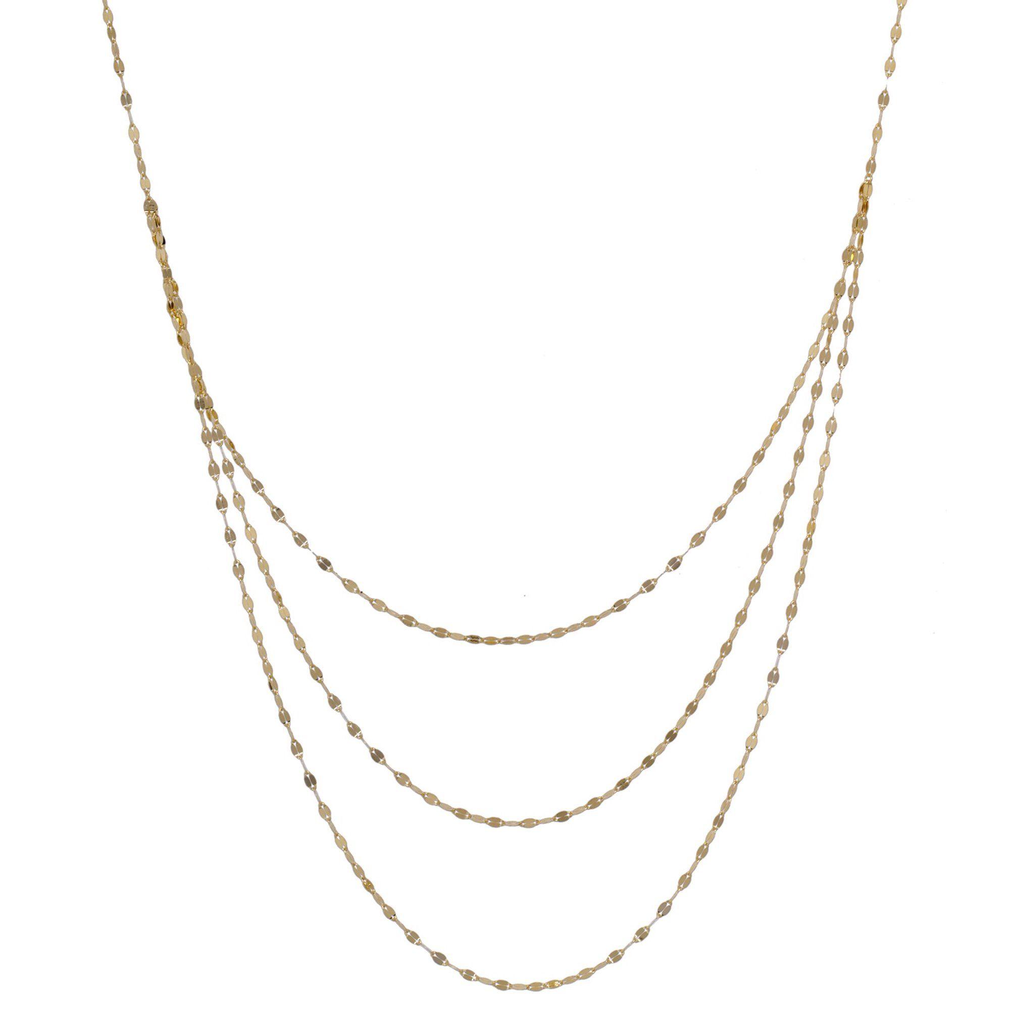 Brilliance Fine Jewelry 10k Yellow Gold Layered Three Strand Mirror Chain Necklace Walmart Com Chain Necklace Necklace Walmart Gold Layers