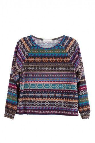 Multi Print Pullover Sweater GIRLS (7-16)
