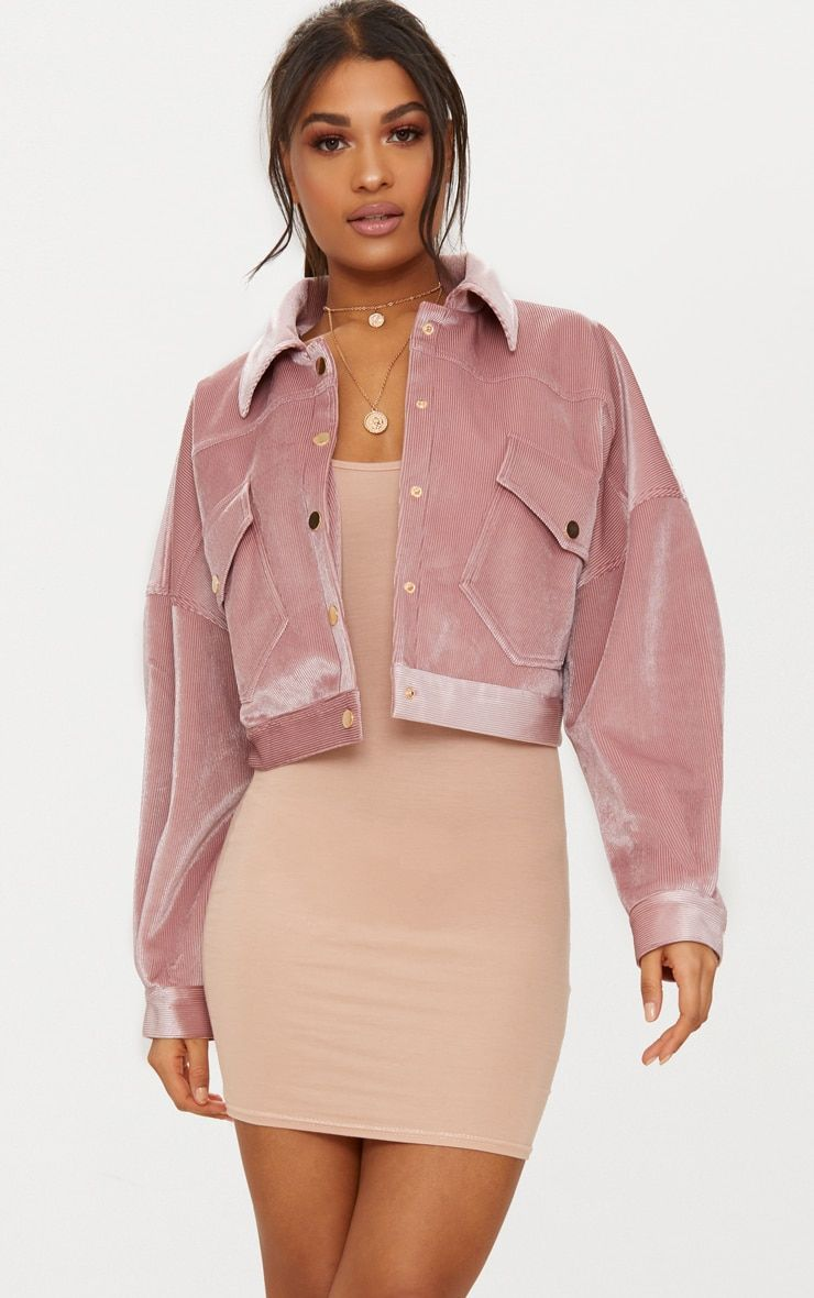 32a6ba42ddb1 Pink Cropped Cord Oversized Trucker JacketBe the ultimate 70's doll with  this trucker jacket girl.