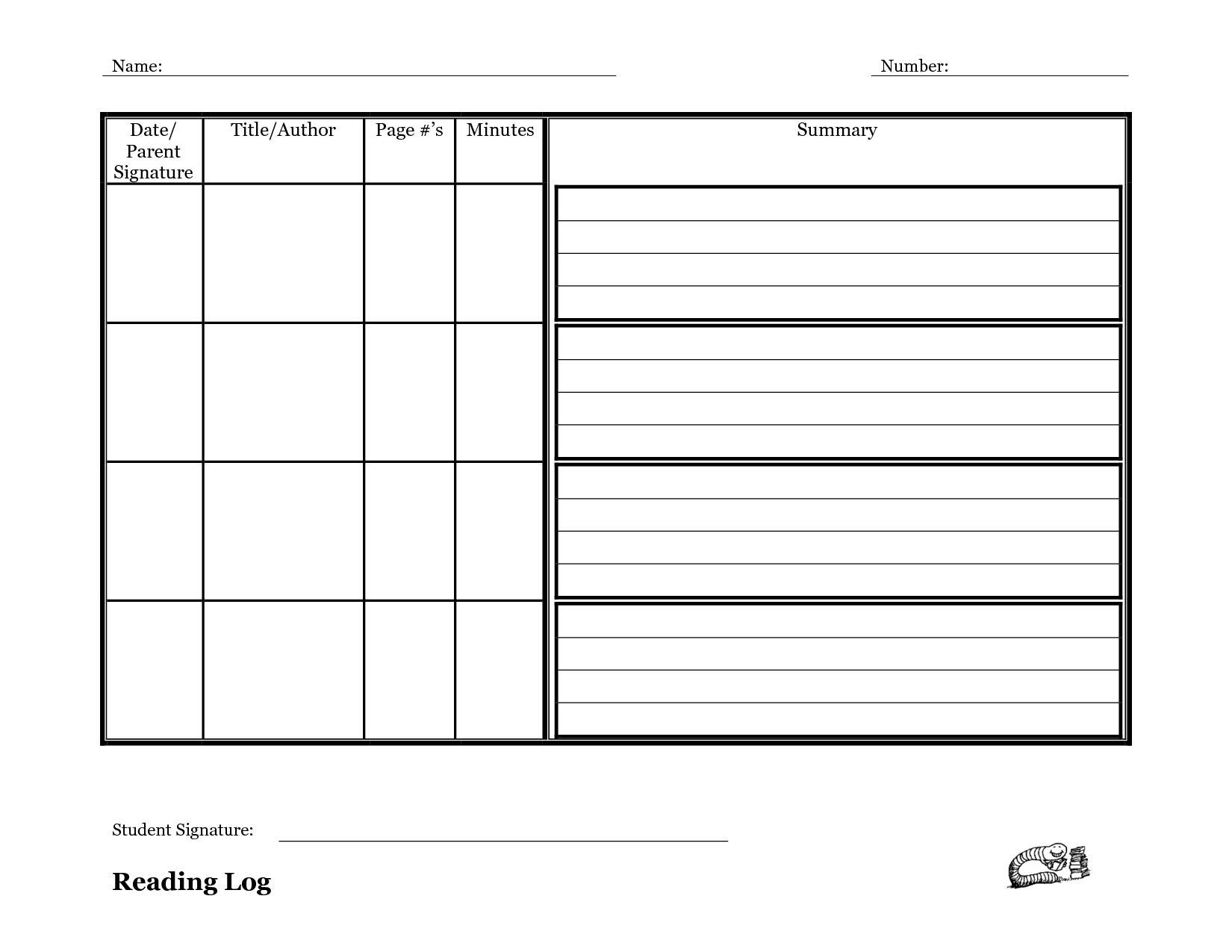 Reading Log Template With Summary