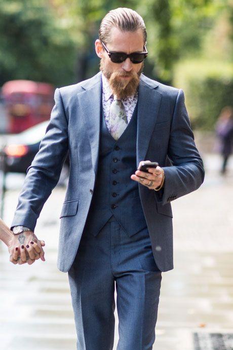 Beard & 3-Piece Suit | SOLETOPIA | Style | Pinterest | Blue suits ...