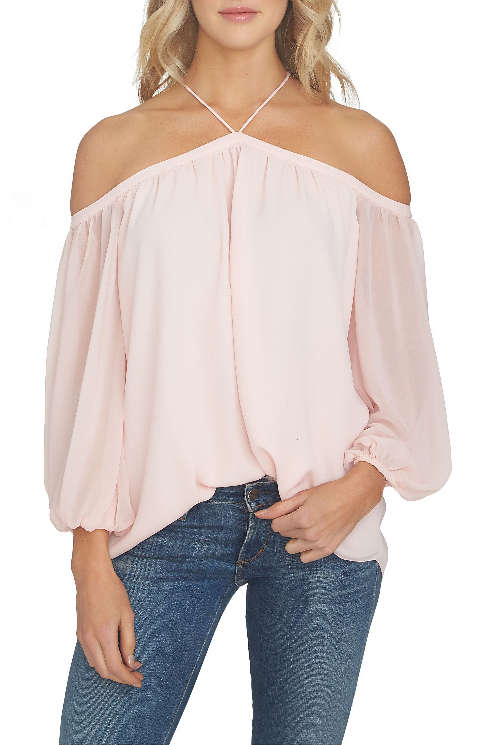 Main Image - 1.STATE Off the Shoulder Chiffon Blouse