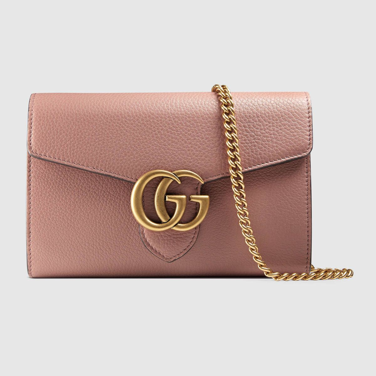 Gg Marmont Leather Mini Chain Bag Mens Leather Bag Mini Chain Bag Brown Leather Purses