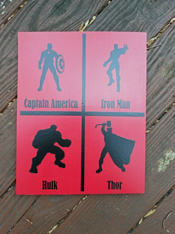 Superhero Boys Wooden Sign Avengers Captain by SignsOfLifePA