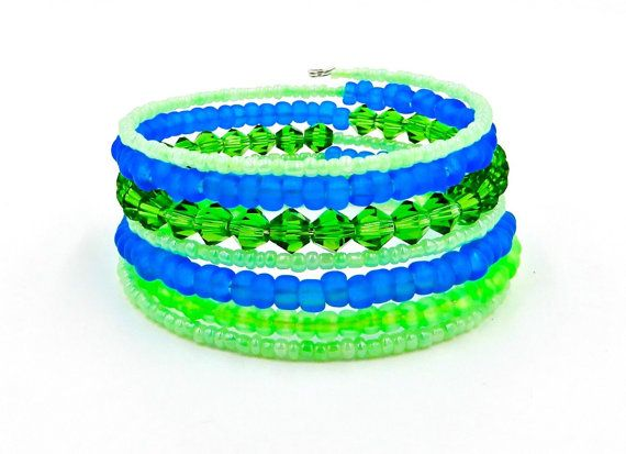 Green and blue bracelet lime green bracelet by BridgeTollBeading