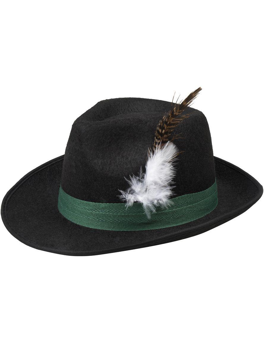 3d65e30cc9905 Sombrero negro de bávaro con pluma para hombre y para mujer