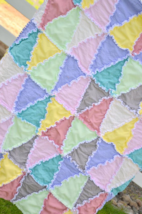 Geometric Triangle Baby Crib Size Rag Quilt Pattern By A Vision To