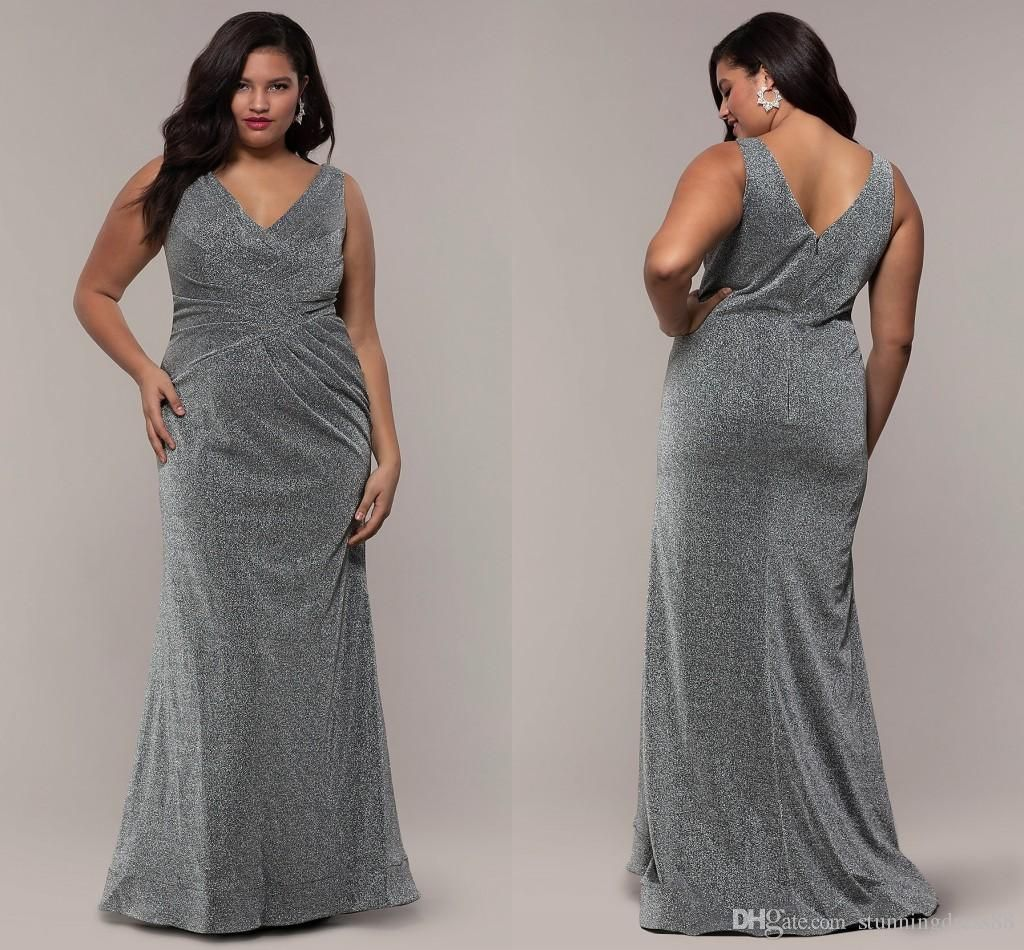 Bling sliver fabric plus size special occasion prom