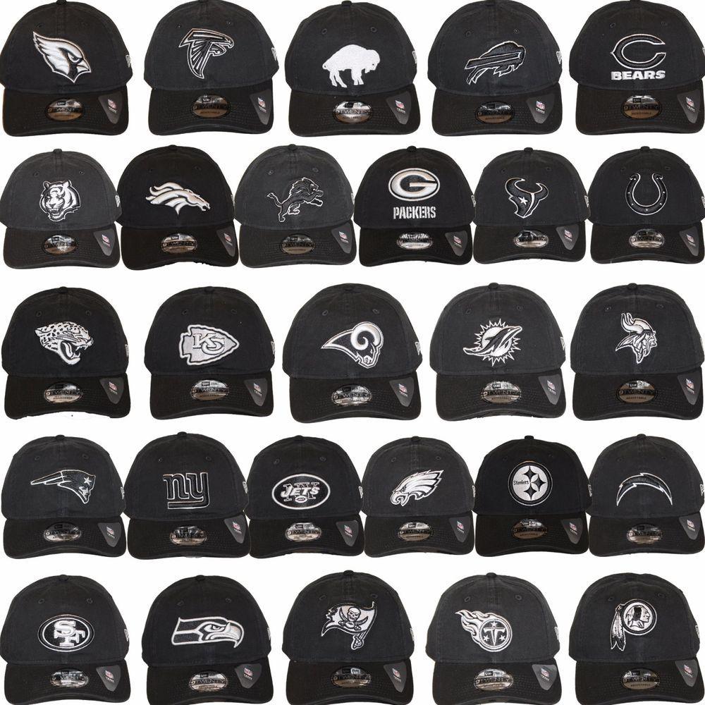 New Era Nfl Core Classic 920 One Size Adjustable Team Dad Hat Cap Black White Dad Hats Nfl New Era