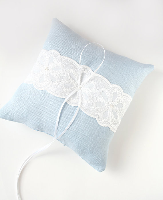 Blue Ring Pillow Lace Wedding Pillow by laurastark on Etsy, $85.00