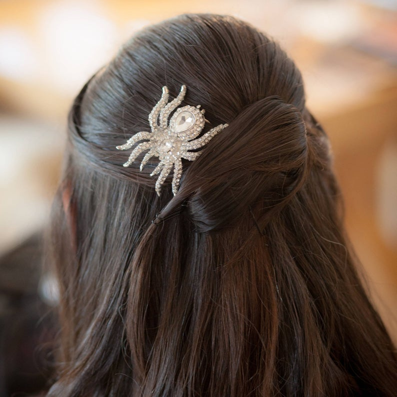 BOXED 2 Wedding  Bridal  Prom  Gothic  Halloween MATCHING Corsage Silver or Bronze Spider Hair Bobby Pins