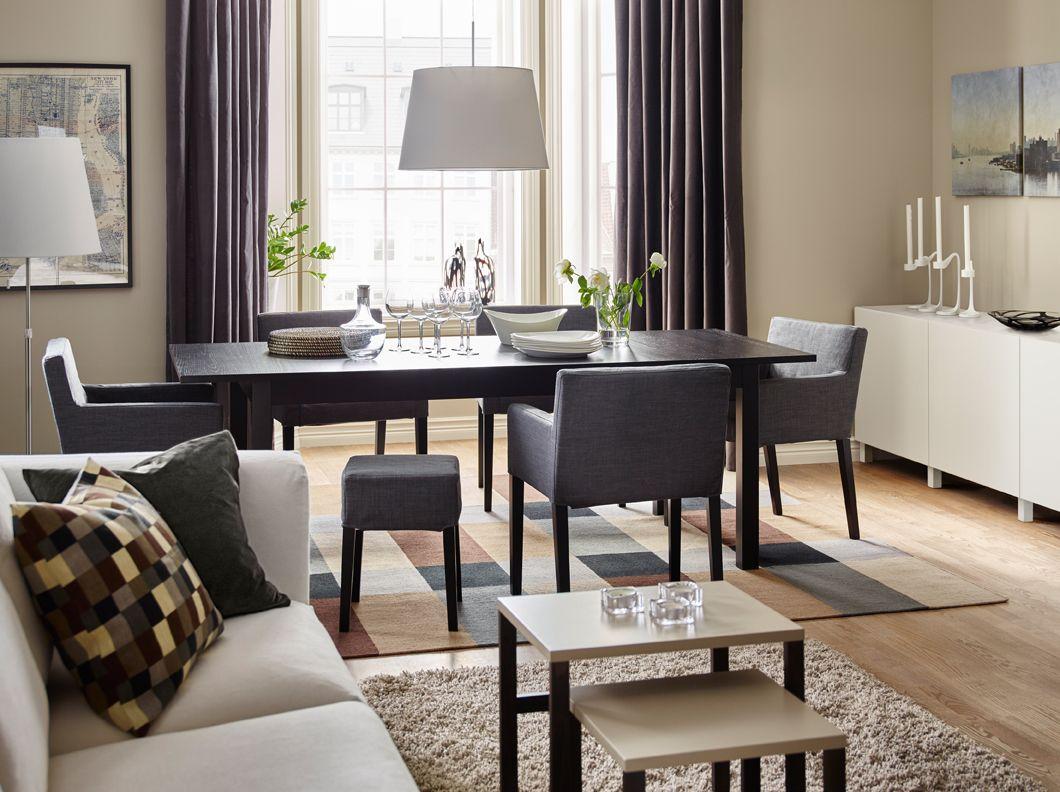 Comedor con mesa en negro marr n sillas de comedor con Sillas de cocina con reposabrazos
