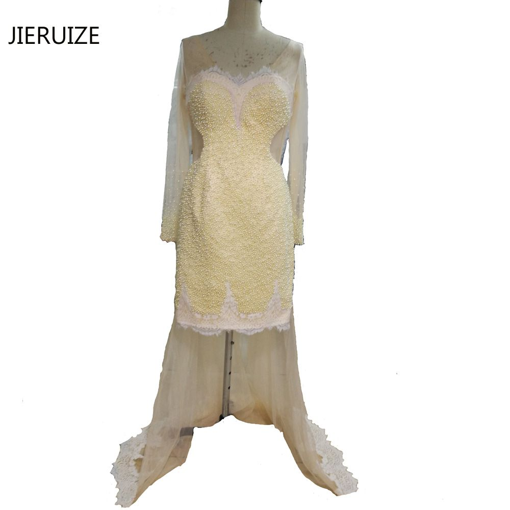 Click to buy ucuc jieruize champagne full pearls hi low luxury evening