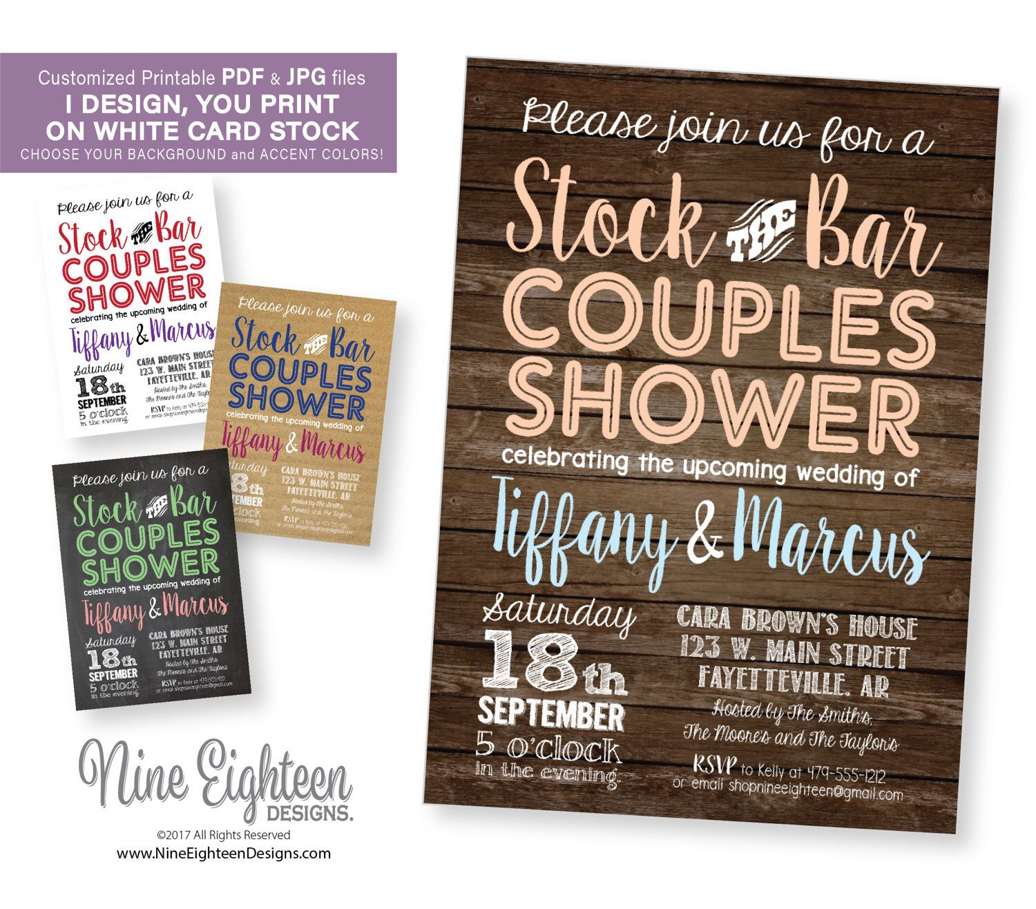 Couples Shower INVITATION, Stock the Bar party. Customized PDF and ...