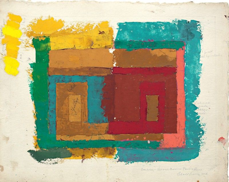 Josef Albers, Study for a Variant/ Adobe (I), ca. 1947, oil on blotting paper with pencil; The Josef and Anni Albers Foundation, inv. no. 1976.2.270 24.1 x 30.6 cm