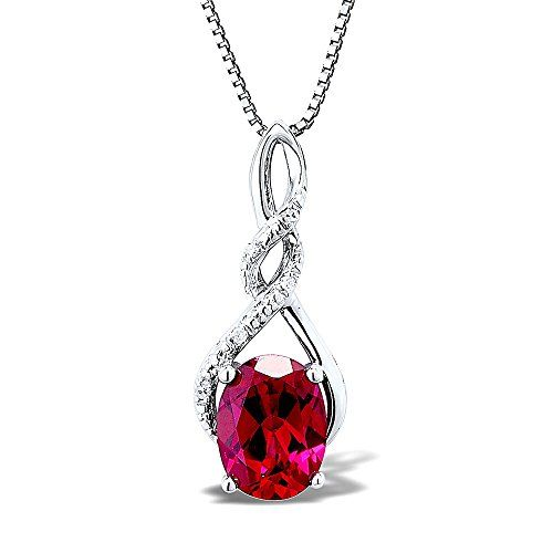 925 Sterling Silver Rhodium-finish Diamond /& Created-Ruby July Stone Round Pendant