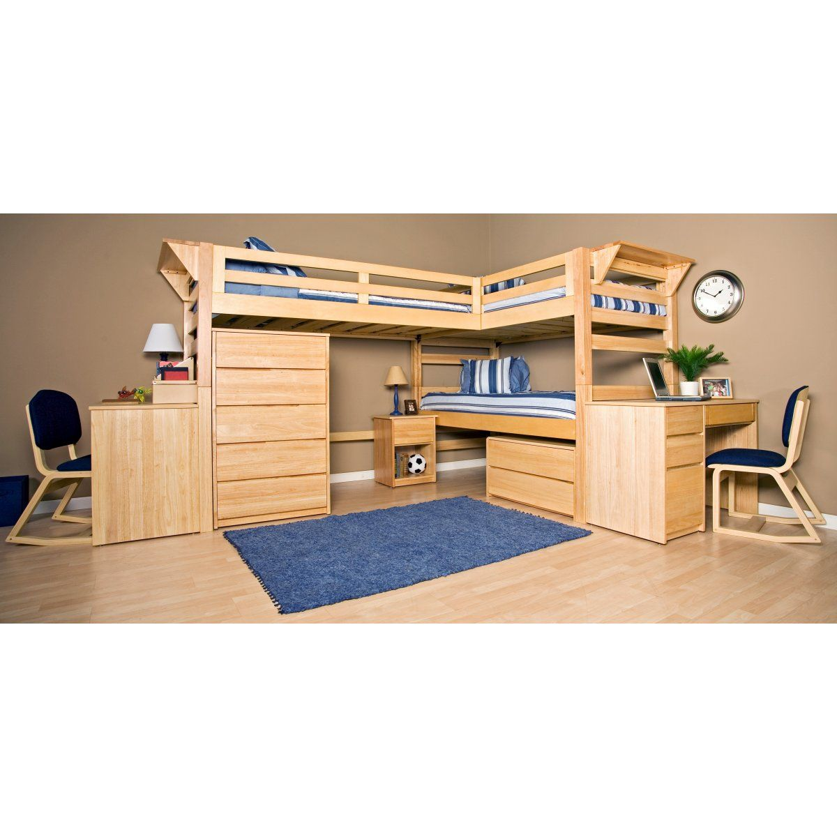 Graduate Triple Lindy Twin Xl Loft Bed With Third Bed Bunk Bed With Desk Kids Bunk Beds L Shaped Bunk Beds
