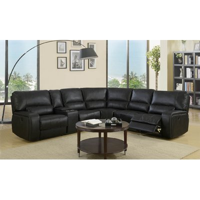 Red Barrel Studio Trower Upholstered Reclining Sectional Upholstery Black
