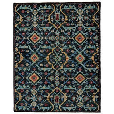 Feizy Roux Abstract Hand-Knotted Wool Blue Area Rug | Perigold