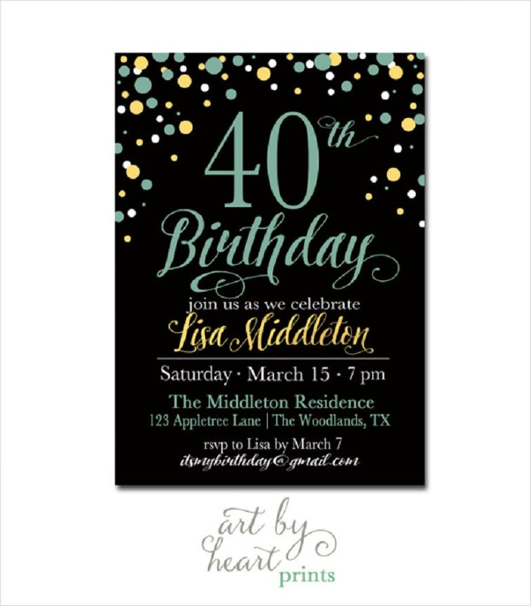 40th birthday invitations templates