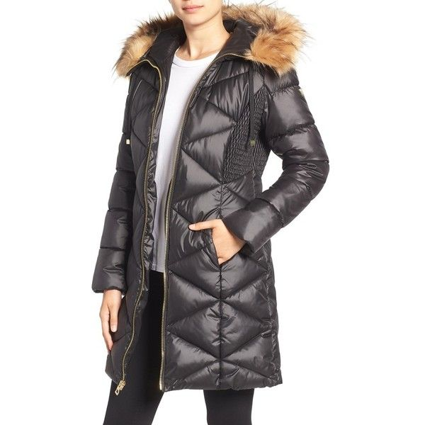 e17c79022999 Women s Guess Quilted Puffer Coat With Faux Fur Trim ( 130) ❤ liked on  Polyvore featuring outerwear