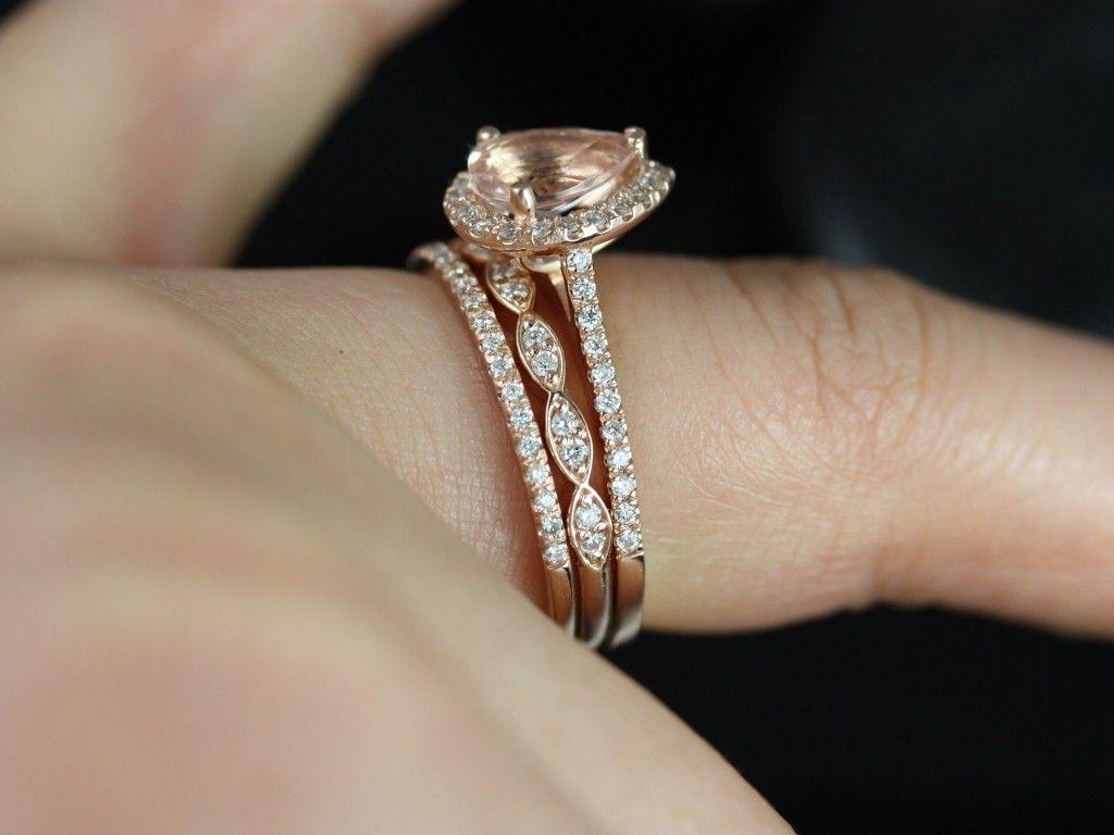 wedding set Rosados Box Tabitha and Christie Trio Rose Gold Pear Morganite and Diamond Halo Wedding Set