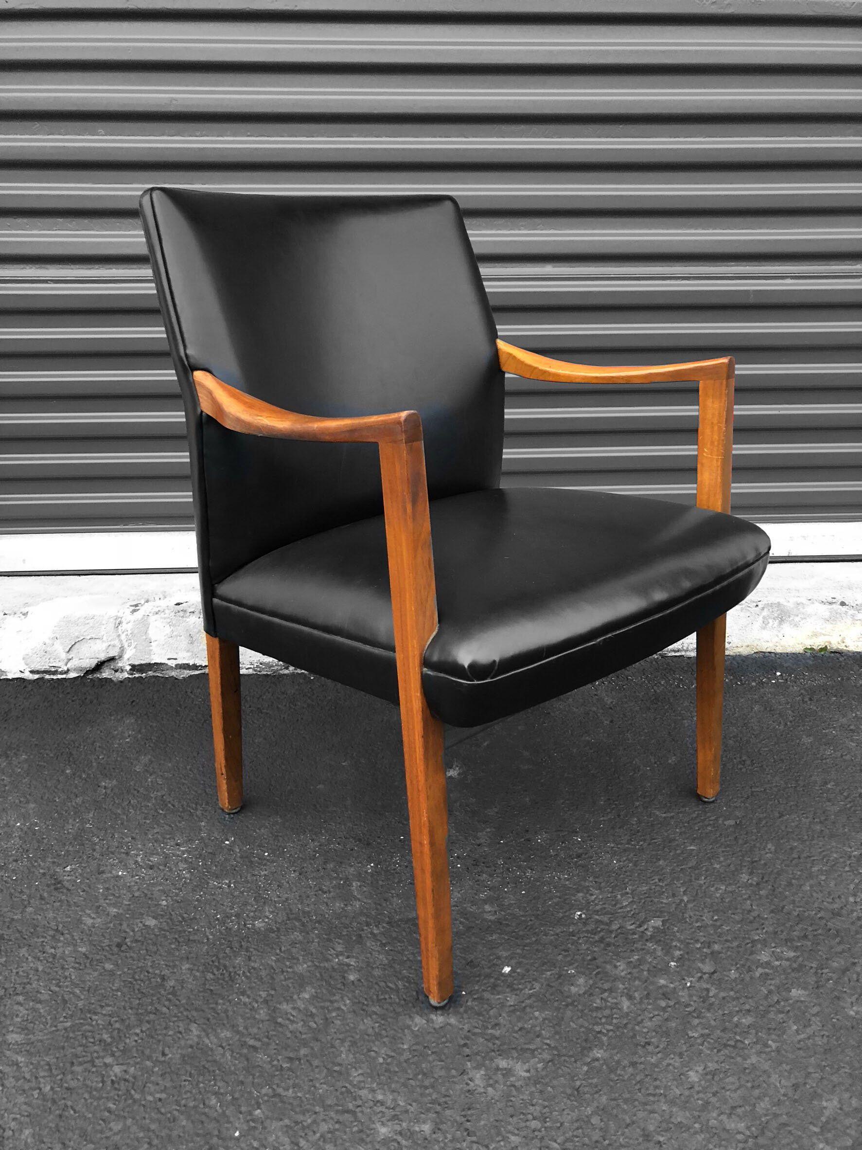 Mid Century Modern Gunlocke Chair With Walnut Black Vinyl By