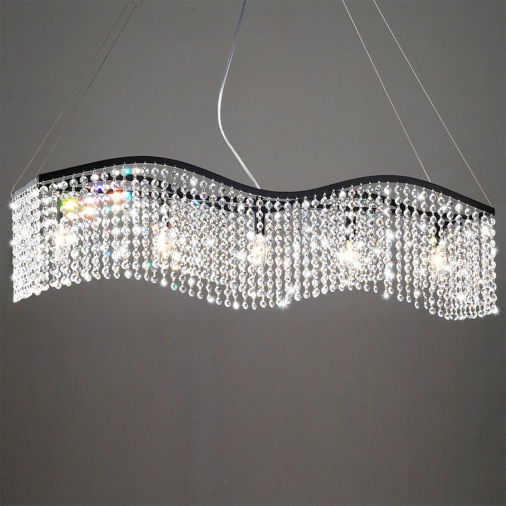 Designer modern crystal chandelier wave light fixture dining living give your dining room an elegant makeover with this five light black and crystal chandelier this chandelier features an adjustable height and a shimmering arubaitofo Image collections