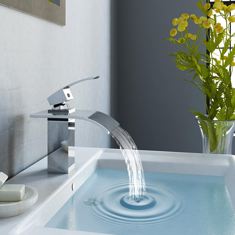 Aquamarin Waschtischarmatur Wasserhahn Badezimmeramatur Wasserfall Inkl Montage Und Anschlussmaterial Am Waschbecken Armaturen Waschtischarmatur Waschbecken