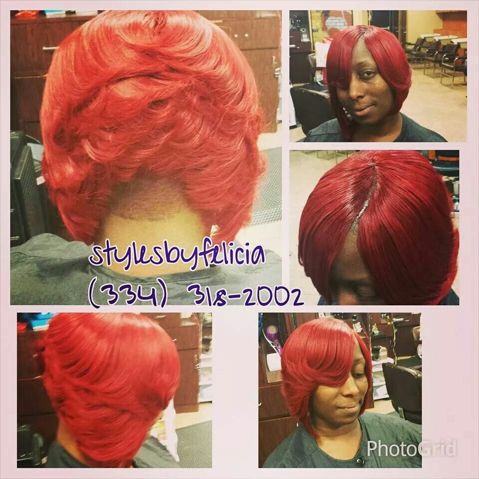 Invisible Part Quick Weave Red Bob Hair Styles Pinterest Red