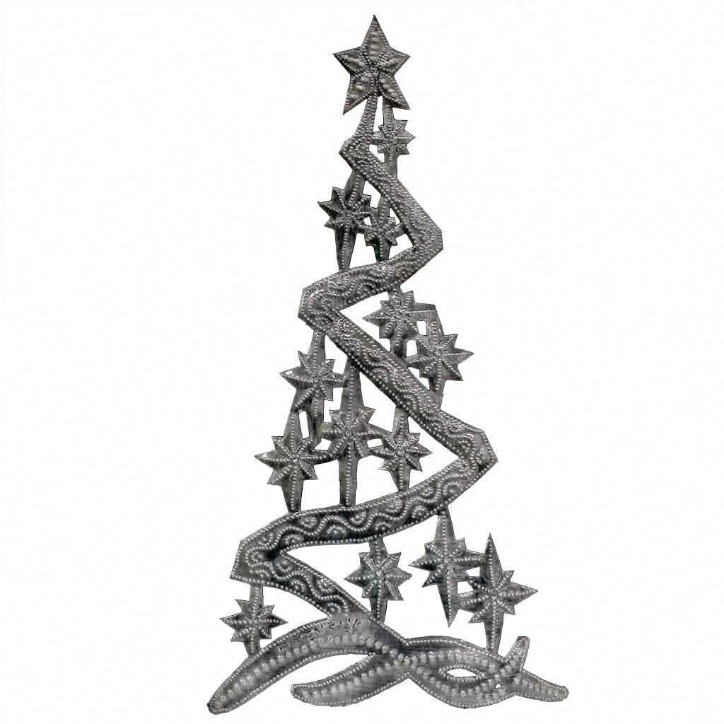 Handmade Christmas Tree Metal Wall Art 14 X 7 Haiti N A Grey Global Crafts Metaltreeart Metal Tree Wall Art Metal Tree Handmade Christmas Tree