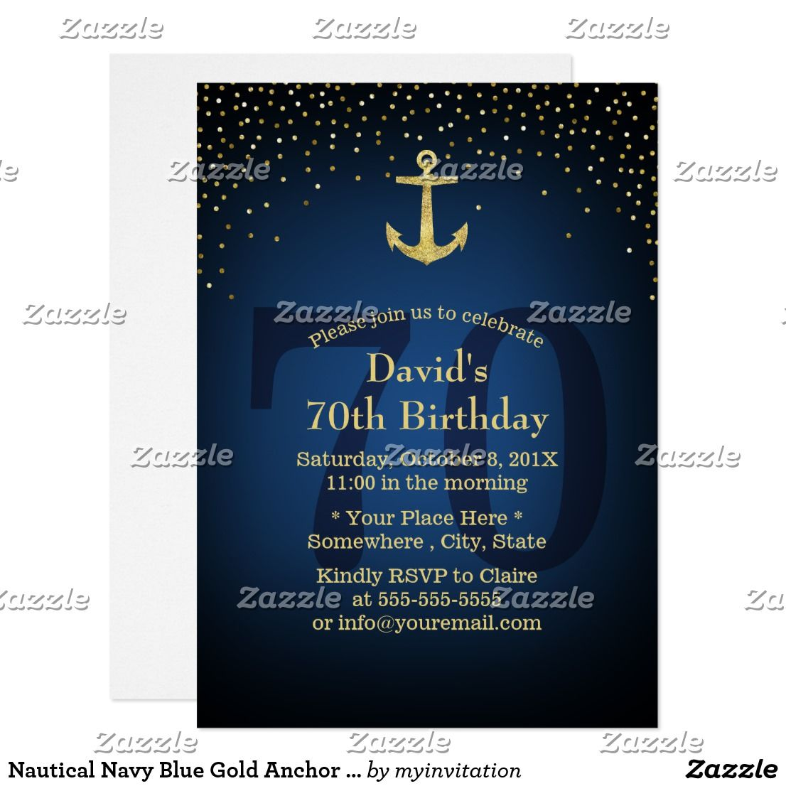 Nautical navy blue gold anchor 70th birthday party card 70 nautical navy blue gold anchor 70th birthday party card biocorpaavc
