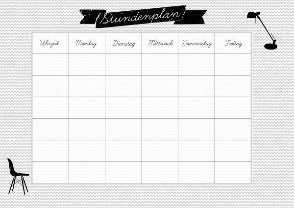 printable school schedule kostenloser stundenplan