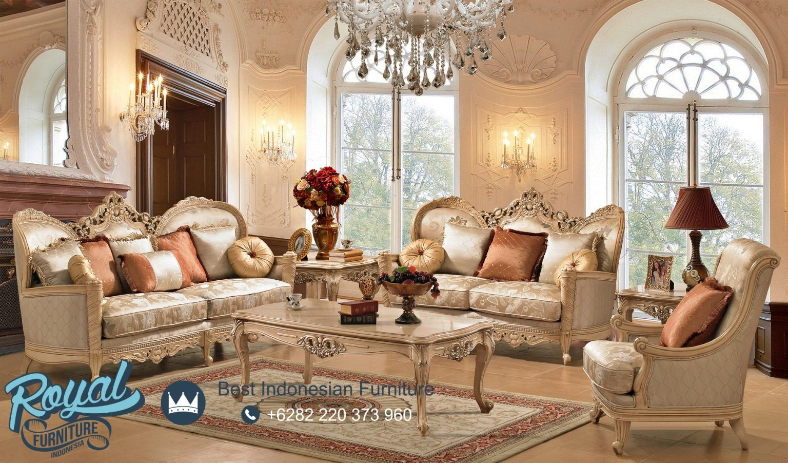 Sofa Tamu Mewah Elegan Living Room Royal Furniture Indonesia Elegant Living Room Furniture Romantic Living Room Formal Living Room Furniture