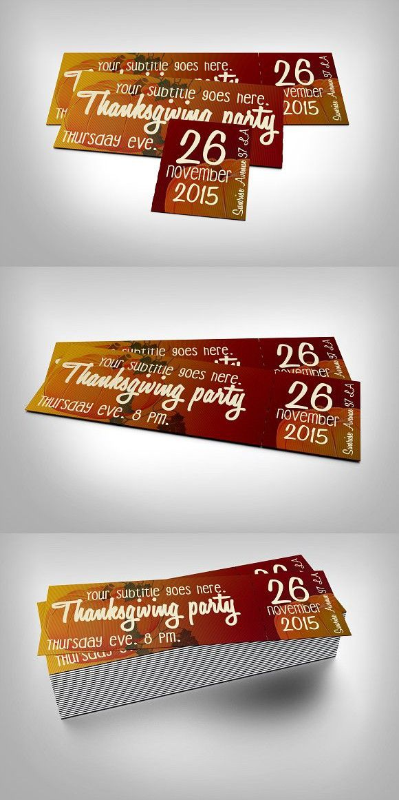 Thanksgiving event ticket Event ticket and Fonts - ticket invitation template