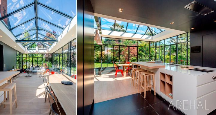 Arehal - véranda et verrière à lu0027ancienne sur mesure en région - cuisine dans veranda photo
