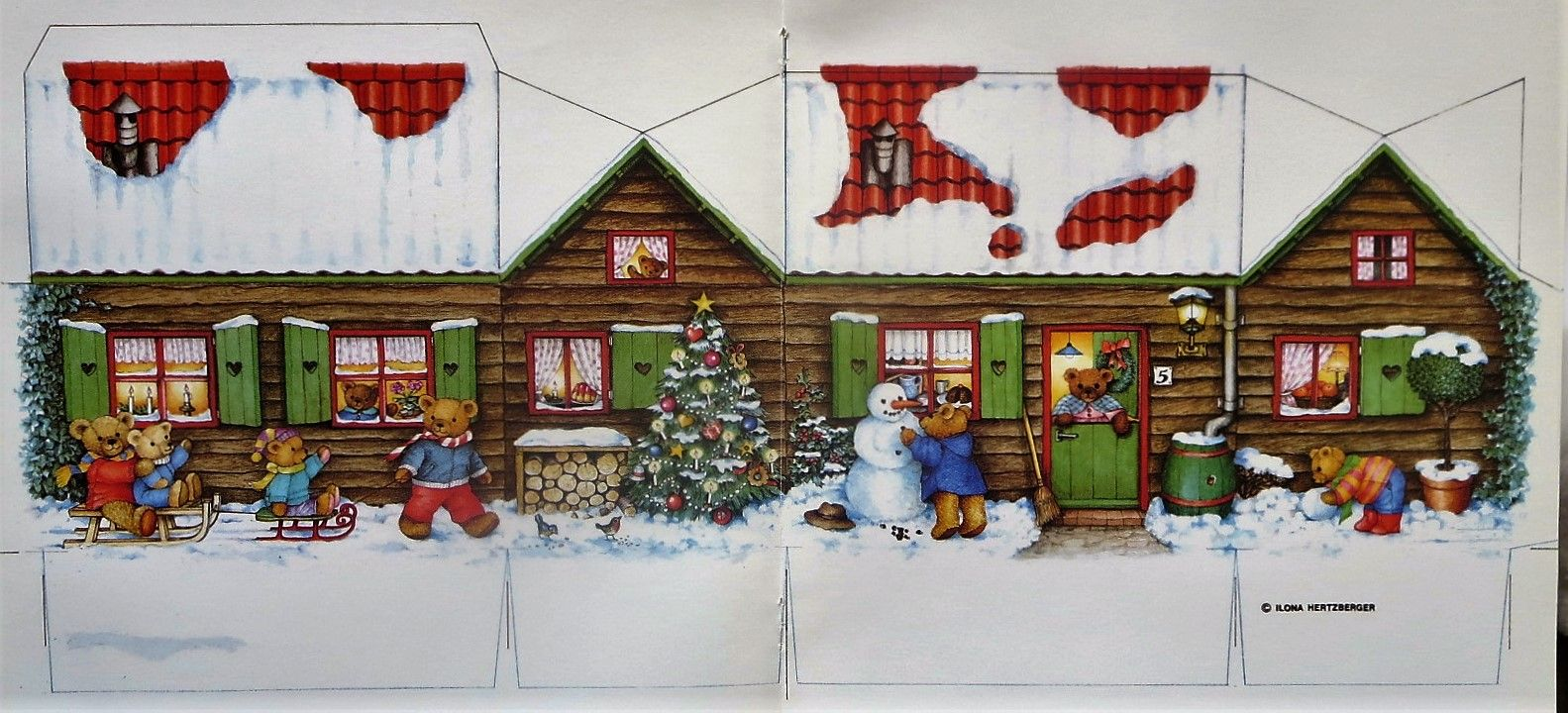 paper/ chritmas bear house