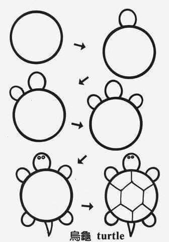Draw Turtle Circle Stey By Step Drawing Tutorials For Kids