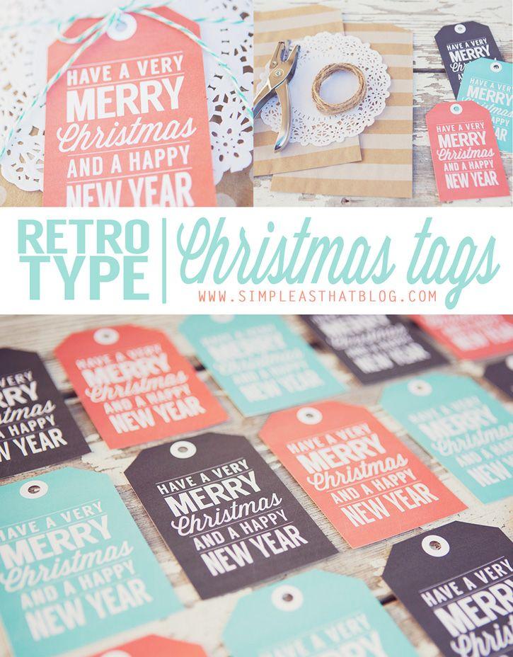 Christmas Gift Tags Pinterest.Retro Type Printable Christmas Gift Tags Printables