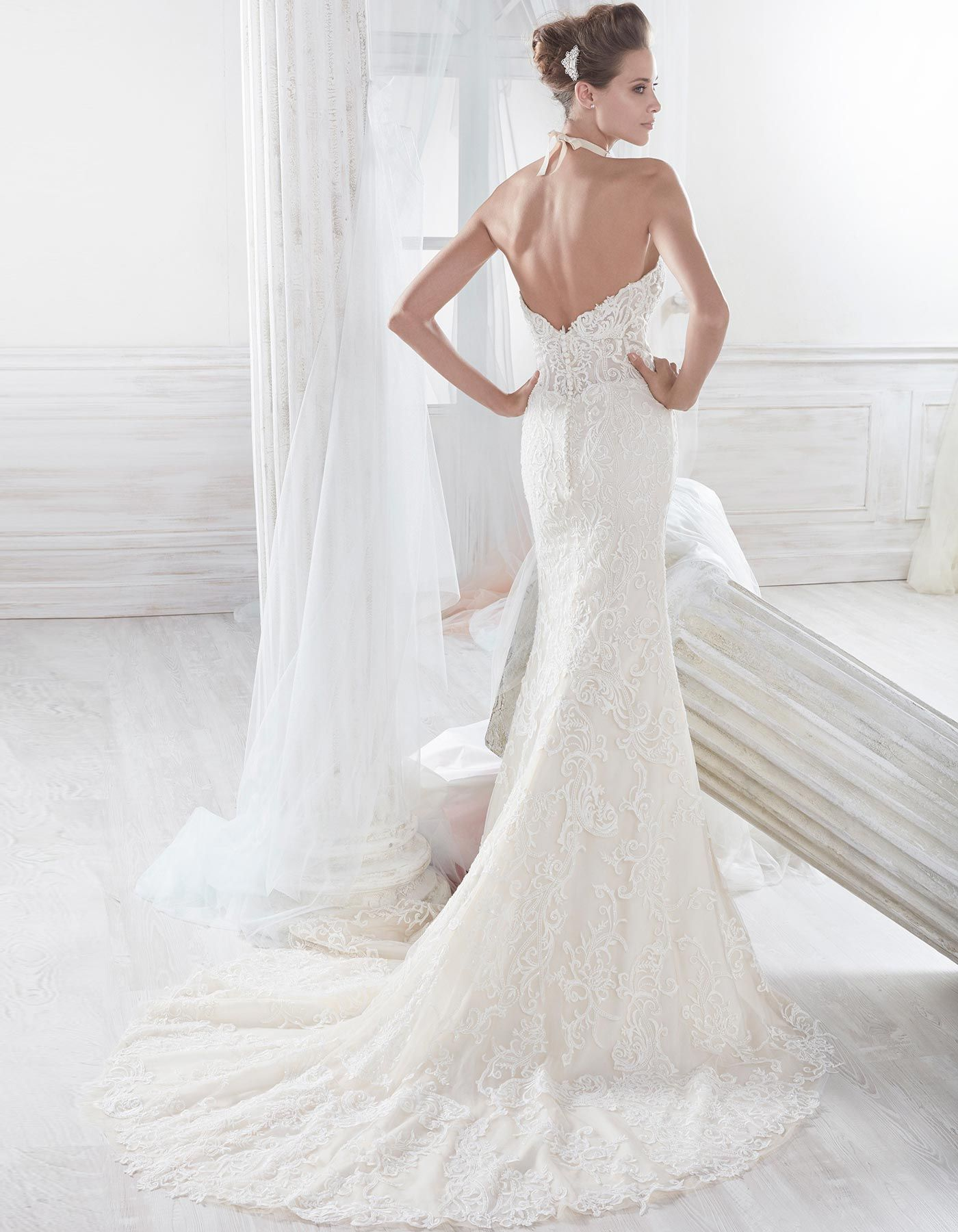 Strapless beaded lace wedding dress | 18069 by Nicole Spose | Ripley ...