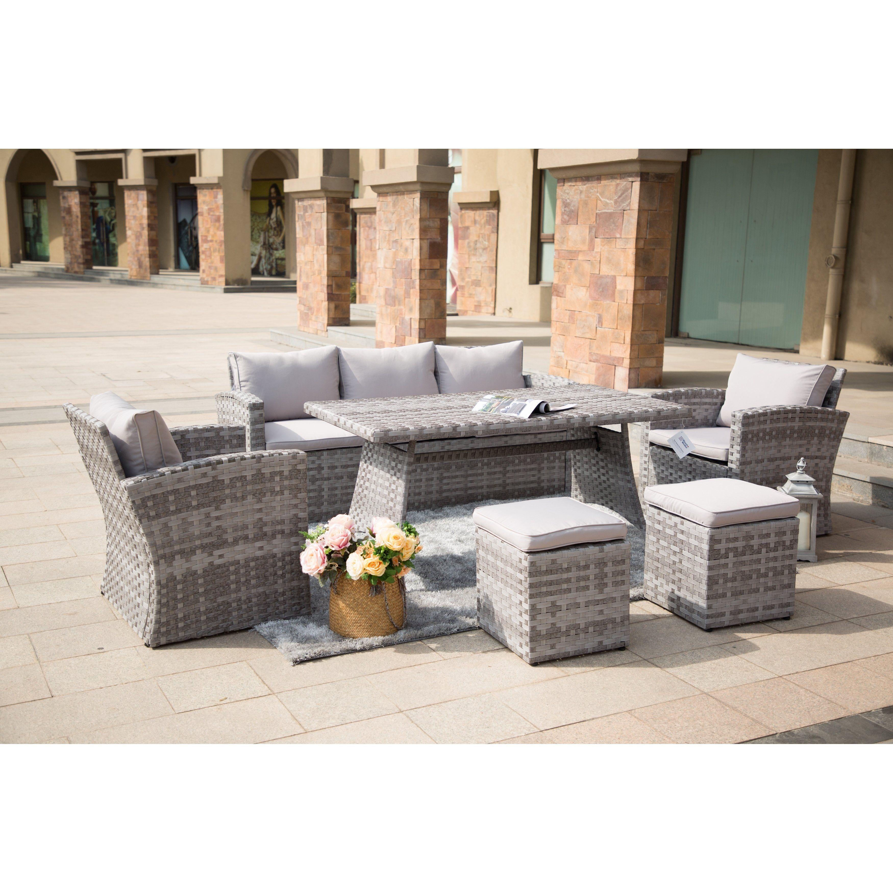 6 Piece Patio Wicker Sofa Set Outdoor Furniture By Moda