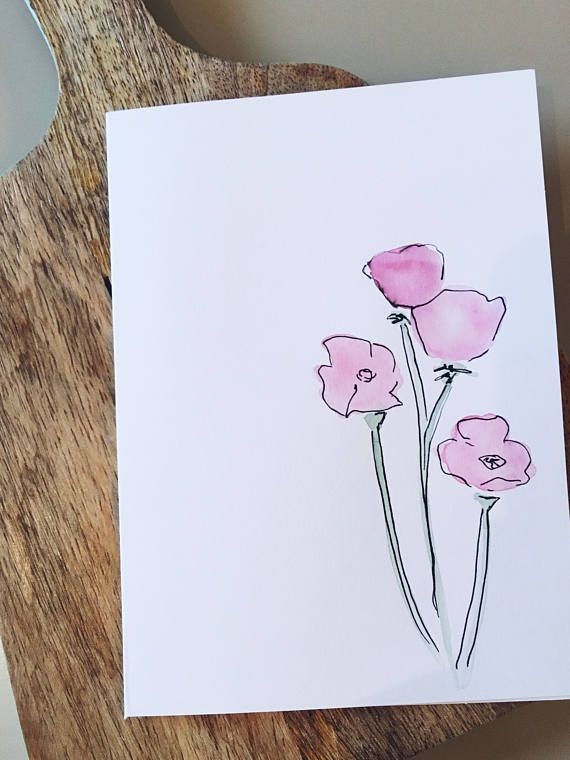 Original Hand Painted Greeting Card On Card Stock Inside Of Card