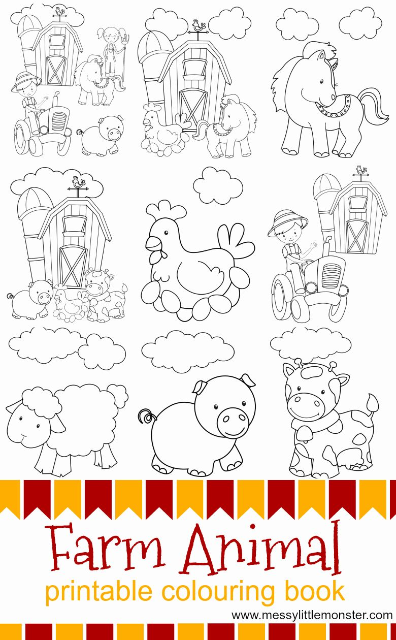 Printable Farm Animals Coloring Pages New Farm Animal Printable Colouring Pages In 2020 Farm Animal Coloring Pages Farm Coloring Pages Farm Animals Preschool