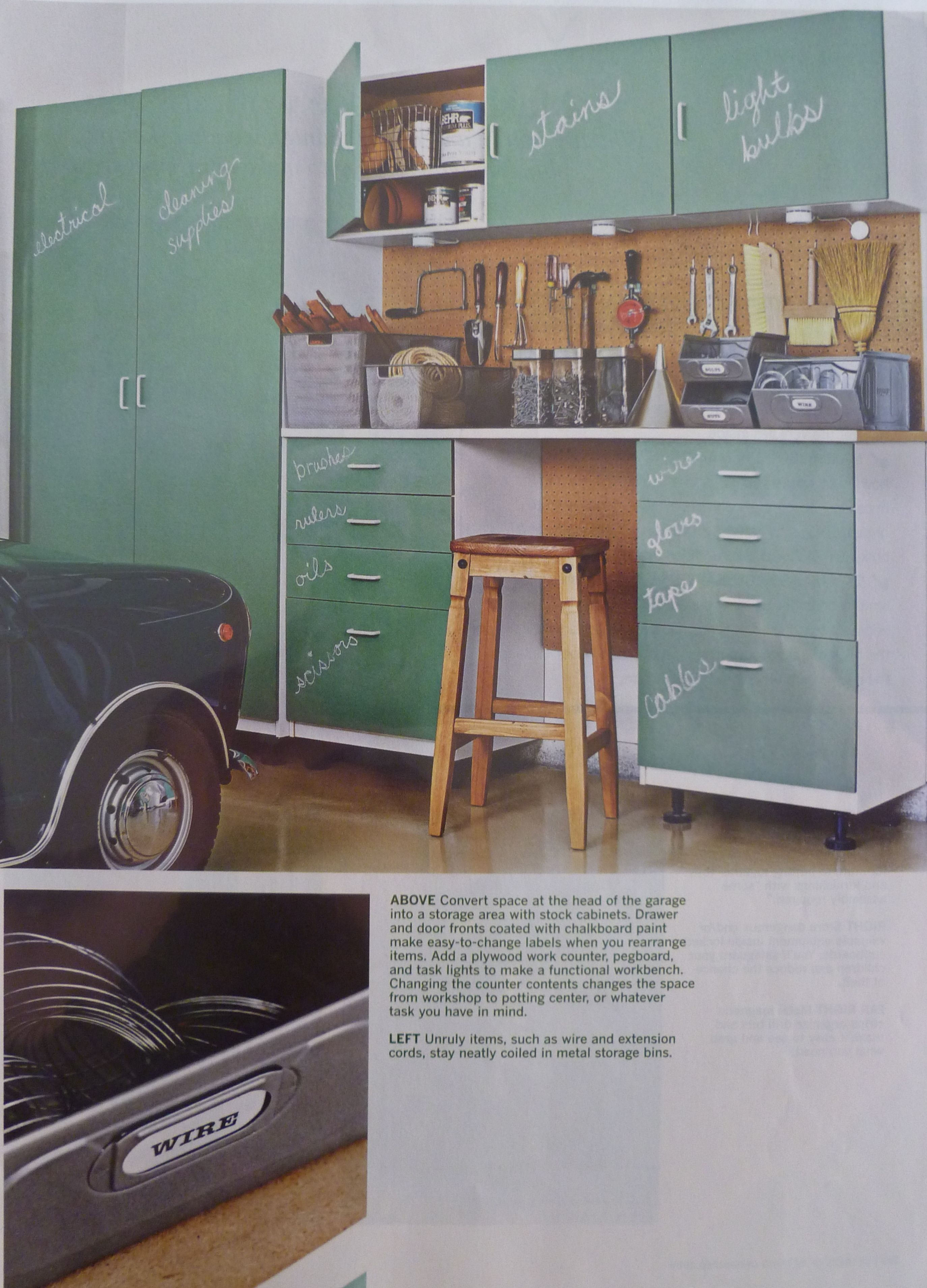 Chalkboard doors!  Great way for anyone in the family to locate dad's stuff (or maybe not!!)