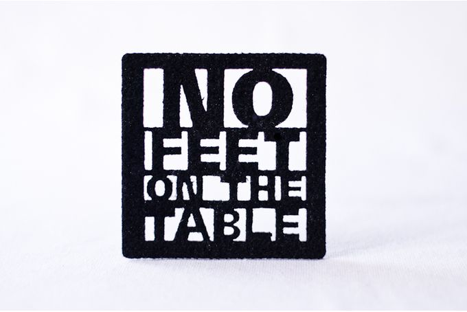 Black felt coasters x 4 - 'no-feet-on-the-table' by Touchee Feelee on hellopretty.co.za