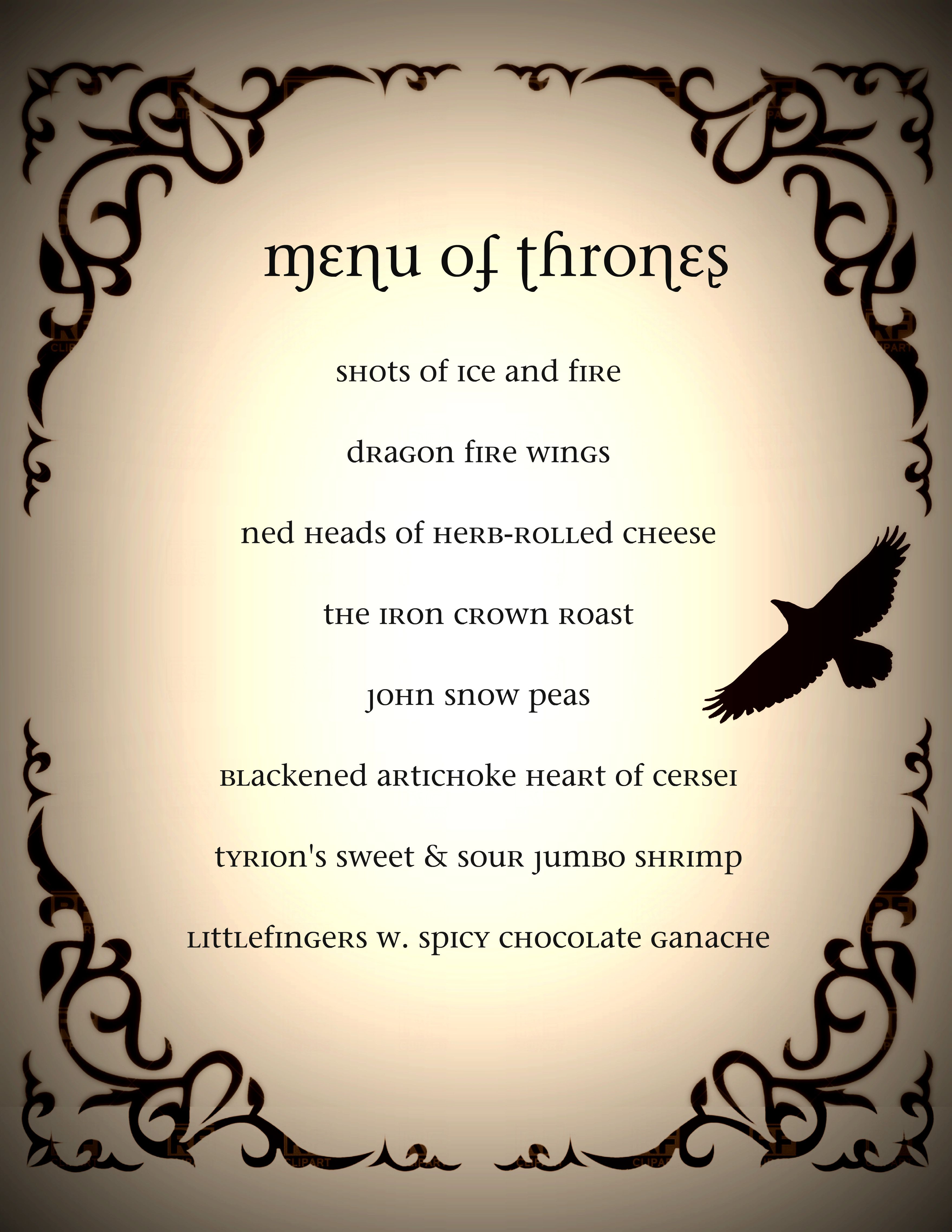 Game of thrones dinner party menu got game of thrones for Table 6 brunch menu