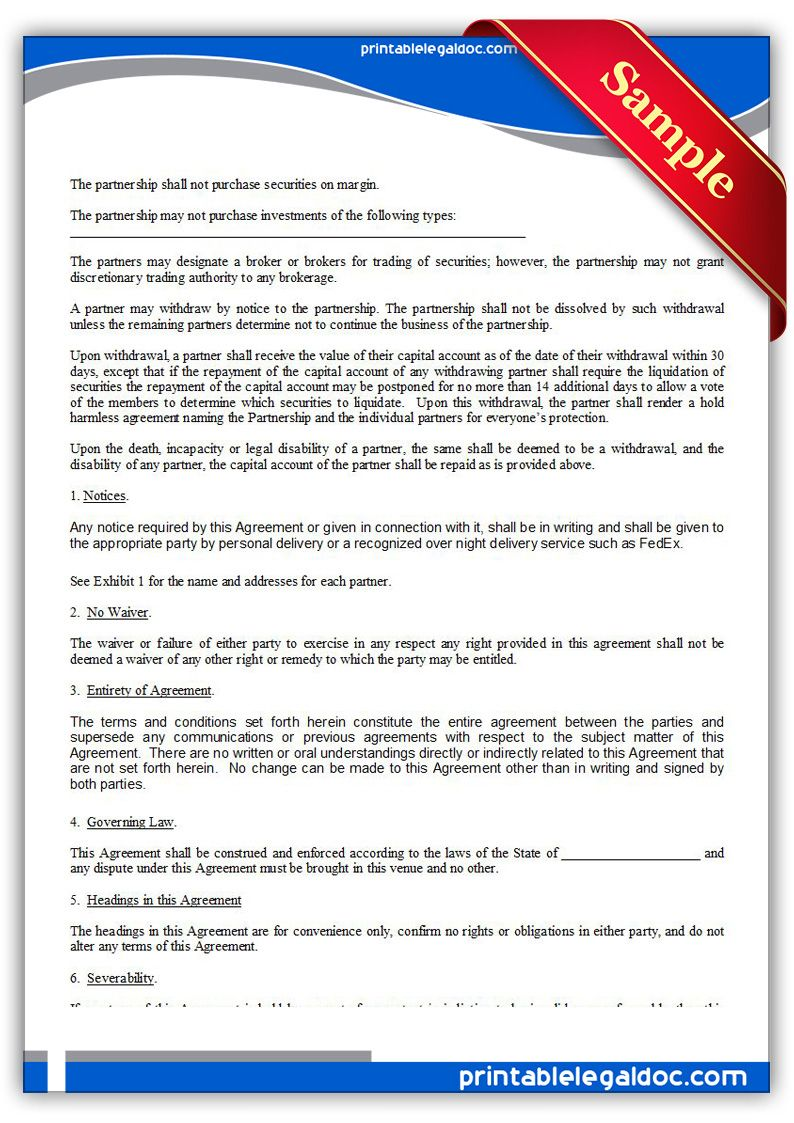 Free Printable Investment Club Partnership Agreement | Sample Printable  Legal Forms
