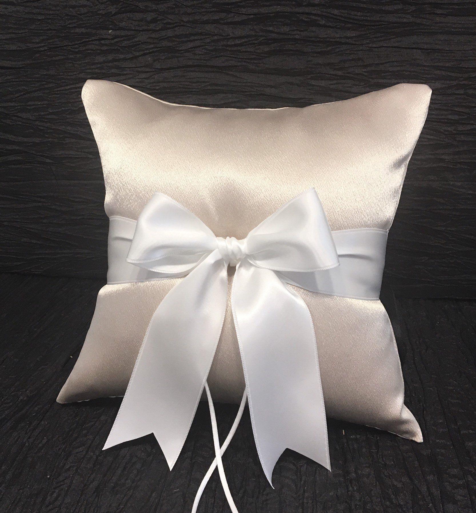 GB10c White Satin Bow Ring Bearer Pillows
