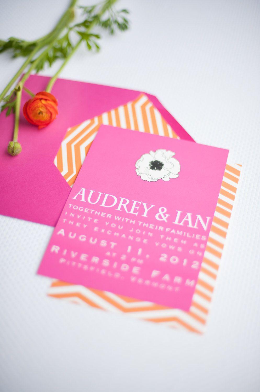 Chevron And Anemone Wedding Invitation Rsvp Postcard Shown In Hot Pink And Orange Bright Wedding Invitations Wedding Invitations Rsvp Orange Invitation